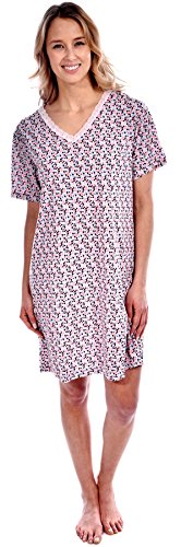 Pink Lady Women's Cotton Knit Short Sleeve Confetti Print Nightgown Pink X-Large