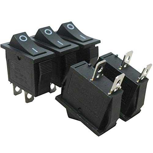 - 5Pcs AC 15A/125V 20A/250V SPST 2 Pins 2 Position ON/Off Car Boat Black Rocker Switch Toggle(Quality Assurance for 1 Years)KCD3-101
