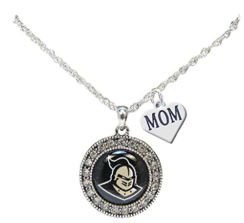 Holly Road UCF Knights Silver Crystal Necklace WITH MOM CHARM Jewelry Central Florida