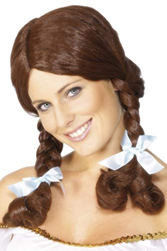 Smiffys Women's Country Girl Wig Plaited, Brown, One Size
