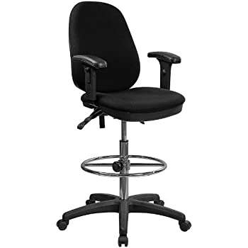 Superior Flash Furniture Black Multifunction Ergonomic Drafting Chair With  Adjustable Foot Ring And Adjustable Arms