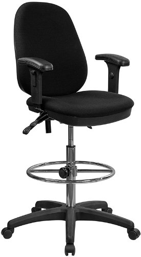 Flash Furniture Black Multifunction Ergonomic Drafting Chair with Adjustable Foot Ring and Adjustable Arms by Flash Furniture
