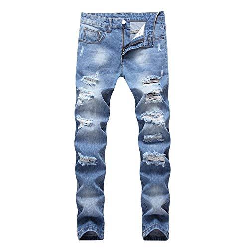 Blu Ssig Colore In Retrò Jeans Casual Moderna Da Confortevole Cotone Pantaloni Uomo Morbido Moda Misto Dritti EPFxxnHqZ