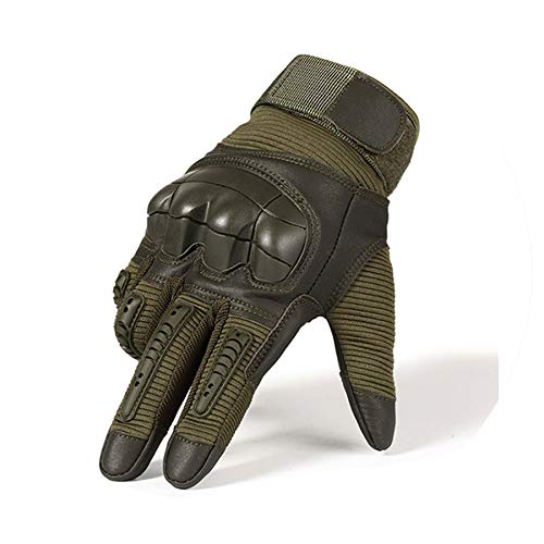 Touch Screen PU Leather Motorcycle Gloves Motocross Knuckle Full Finger Glove Men Women,Green,L,China -