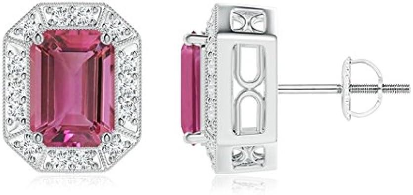 Oferta de Navidad–diamante Halo corte Esmeralda color rosa turmalina Stud Pendientes para las mujeres