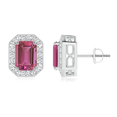 Emerald Cut Tourmaline Earring Pink (Emerald-Cut Pink Tourmaline and Diamond Halo Stud Earrings in Platinum (7x5mm Pink Tourmaline))