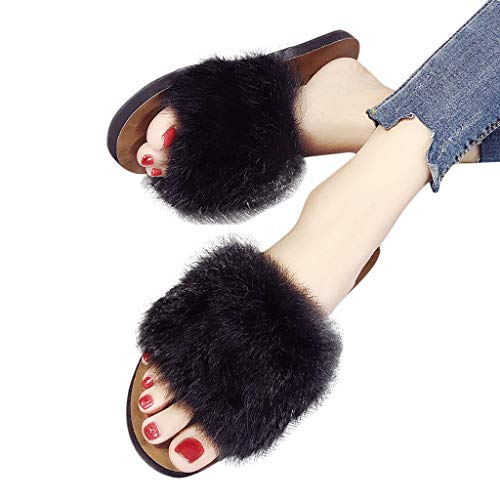Sanyyanlsy Woman Cute Hairball Women's Slipppers Hairy Sandals Indoor Outdoor Wear Fit with Dress Slip On Girl's Slides Black