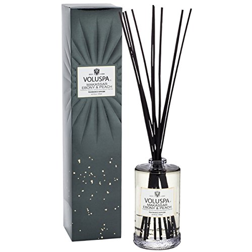 Makassar Ebony Peach - Voluspa Vermeil 6.5oz Oil and Ratan Reed Diffuser Makassar Ebony Peach