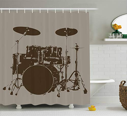 Ambesonne Music Decor Shower Curtain by, Grunge Drum Kit for Bass Rythm Lovers Ba Dum Tss Image Sketchy Art, Fabric Bathroom Decor Set with Hooks, 70 Inches, Purple Grey and Black ()