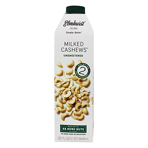 Elmhurst - Unsweetened Cashew Milk - 32 Fluid Ounces. Only 5 Ingredients, 5X the Nuts, Non Dairy, No Added Sugar, Gums or Emulsifiers, Vegan ()