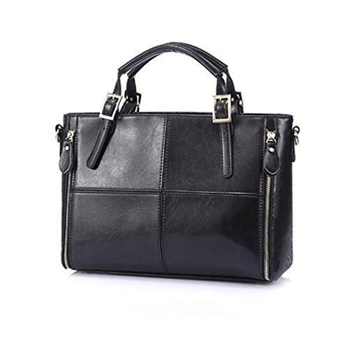Womens Top Handle Satchel Handbags Designer Tote Purse Shoulder Bag Leather Padlock Briefcase Laptop Bag - Black