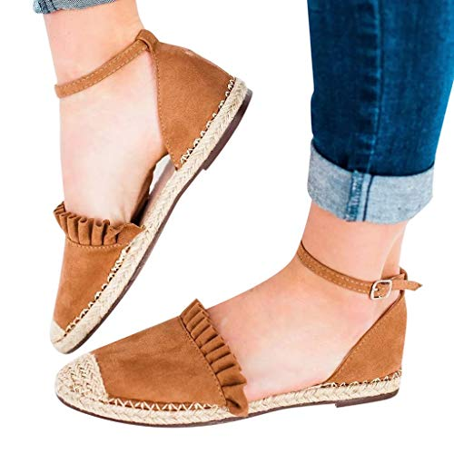 Hot Sale! Women Sandals, Neartime 2018 New Lace-Up Espadrilles Summer Chunky Holiday Sandals Outdoor Flat Shoes (US:6.5, Brown)