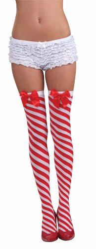 Forum Novelties Women's Candy Cane Thigh Highs, Red/White, One (Halloween Candy Canes)