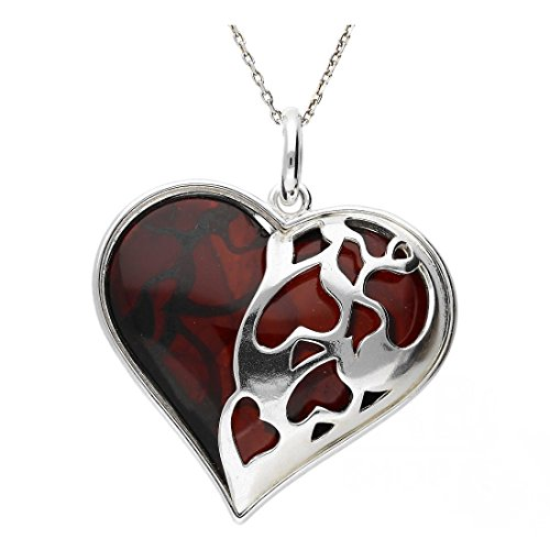 CHERRY BALTIC AMBER STERLING SILVER 925 BEAUTY PENDANT HEART KAB-324