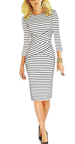 REPHYLLIS Women 3/4 Sleeve Striped Wear to Work Business Cocktail Pencil Dress (Small, White)