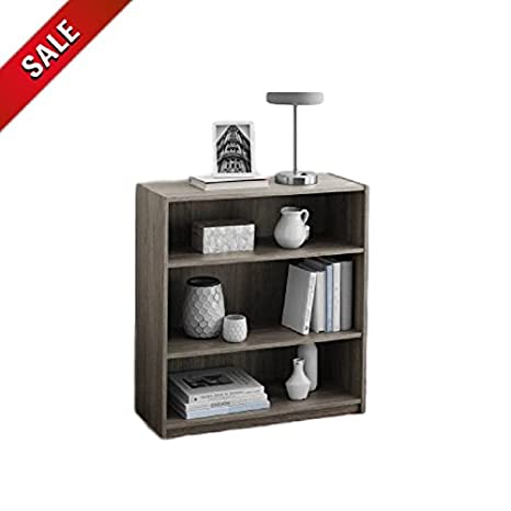 ATS 3 Tier Bookshelf Wooden Rustic Small Office Living Room Bedroom Decor  Modern Vertical Adjustable Storage