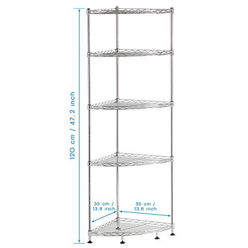 Lifewit corner shelf 5 tiers adjustable metal storage wire for Metal bathroom shelving unit