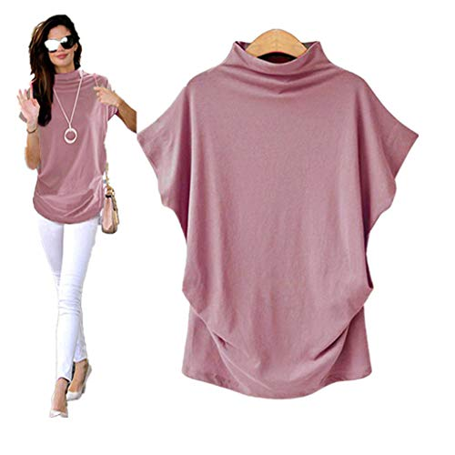 COOKI Women Shirts Turtleneck Short Sleeve Cotton Blouse T Shirt Casual Loose Tunic Tops