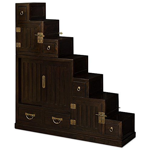 China Furniture Online Elmwood Tansu Step Chest, Japanese Style Espresso Finish (Step Tansu Cabinet)