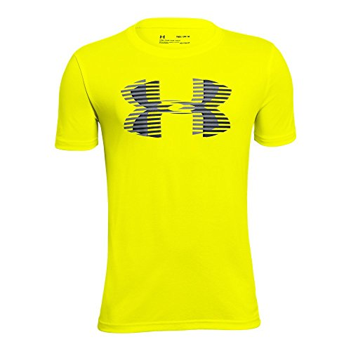 Under Armour Boys' Tech Big Logo Solid T-Shirt, High-Vis Yellow /Steel, Youth Small ()