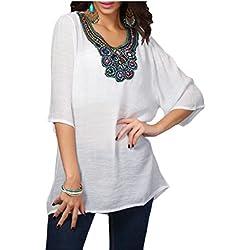 qiangjinjiu Mujer Bordado bohemio camisas Túnica Tops mexicano blusa campesina, Blanco, US L
