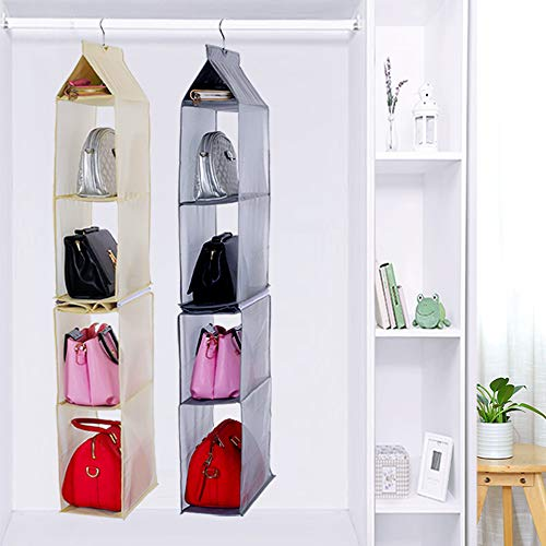 KEEPJOY Detachable Hanging Handbag Organizer Purse Bag Collection Storage Holder Wardrobe Closet Space Saving Organizers System (Pack of 2 Grey)