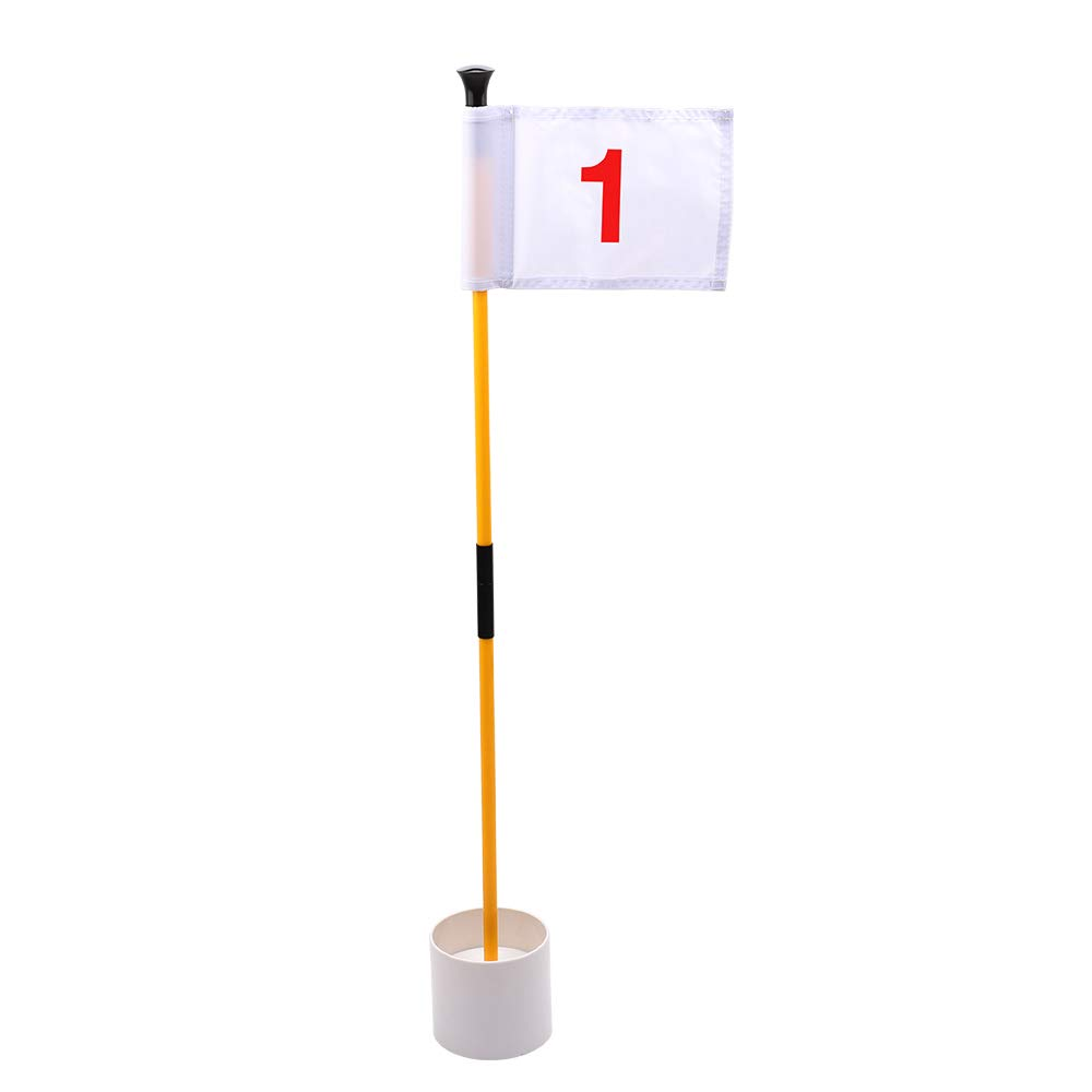 KINGTOP Practice Putting Green Flagstick, Portable Golf Pin Flags, Indoor/Outdoor, 2-Section Design, Solid White Flag, Red Numbered #1