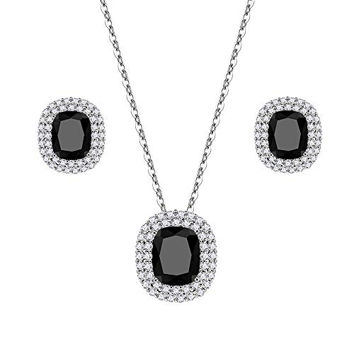 (Lavencious Square Design Jewelry Set Necklace & Earrings Trendy AAA Cubic Zirconia Rhodium Plated for Women (Black))