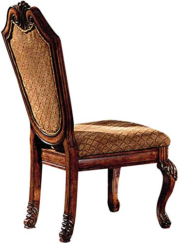 ACME Furniture Chateau De Ville Dining Side Chair Fabric Cushion Decorative Carved Crown and Legs Cherry Finish, Set of 2