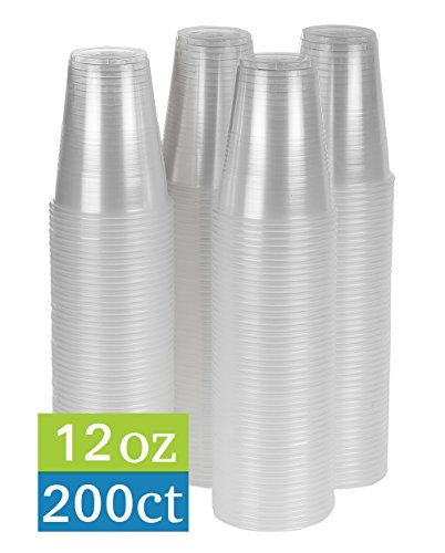 Clear Disposable Cups - TashiBox 12 oz clear plastic cups - 200 count - Disposable cold drink party cups