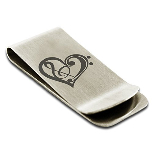 - Stainless Steel Treble Bass Clef Heart Engraved Money Clip Credit Card Holder