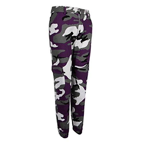 Camouflage Violet Pour Avec Imprimé Femmes Pantalon À poches Multi Fenteer xAH7tZU
