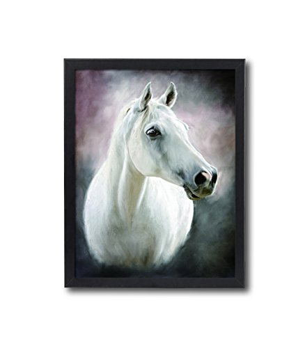 Natural art  White Horse Photos Prints on Canvas Wall Decoration with Black Frame 1216inches Chirstmas Holiday Home Gift