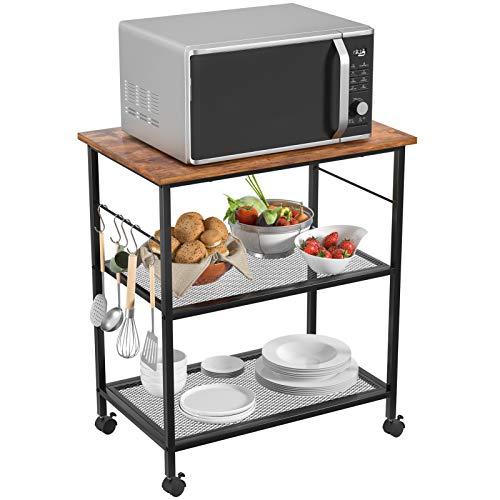Topfurny Kitchen Microwave Cart, 3-Tier Baker's Rack, Home Bar Serving Carts, End/Side Office Shelf Vintage Rolling Cart…
