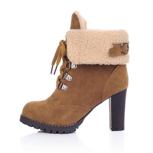 Ankle Boots Martin Thick Short Heel Maybest Yellow Women Up Boots Heels Lace q74tZ