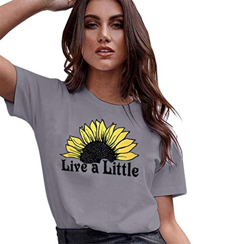 Aunimeifly Summer Woman's Stylish Tee Ladies Rise and Shine Sunflower Graphic Round Neck Short Sleeve T-Shirt ()