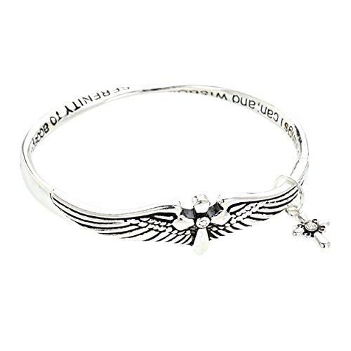 Charm Bracelet Poem Gift Box - Rosemarie Collections Women's Twist Metal Bangle Bracelet Serenity Prayer (Silver)