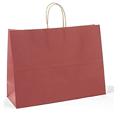 """Halulu Red Kraft Paper Bags, Shopping, Mechandise, Party, Gift Bags - 100pc 16x6x12"""""""
