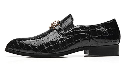 Italian Shoes Santimon Slip Loafers Buckle Fashion Slipper Black Men Smoking on Metal Leather Patent Alligator Moccasins SEzEwr