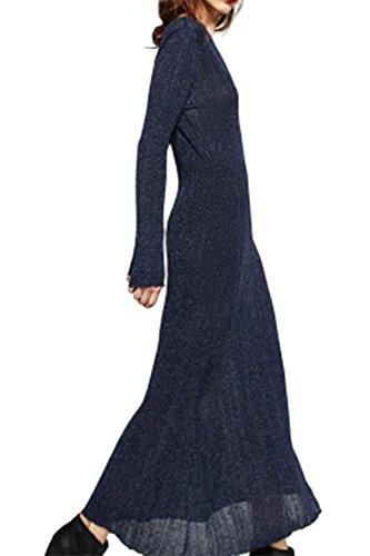 Damen elegante Langarm Swing Maxi-Kleid