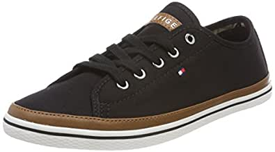 TOMMY HILFIGER Women's Iconic Pure Cotton Trainers Iconic Pure Cotton Trainers, Black, 36 EU