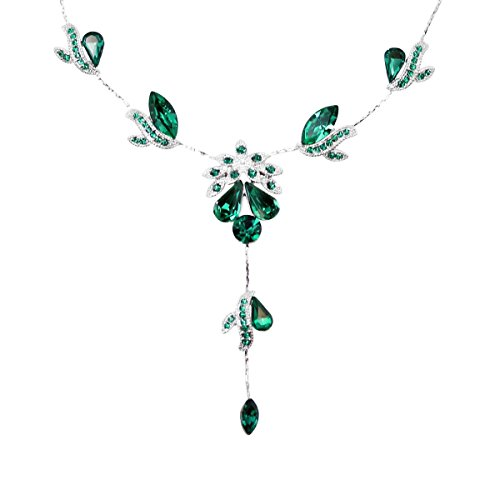 - Faship Gorgeous Green Crystal Necklace Earrings Set Wedding Party - Green/Emerald