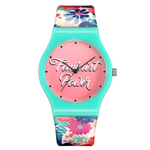 AFFUTE Simple Time Teacher Young Girls Student Children Kids Watches with Colorful Resin Band Green Case
