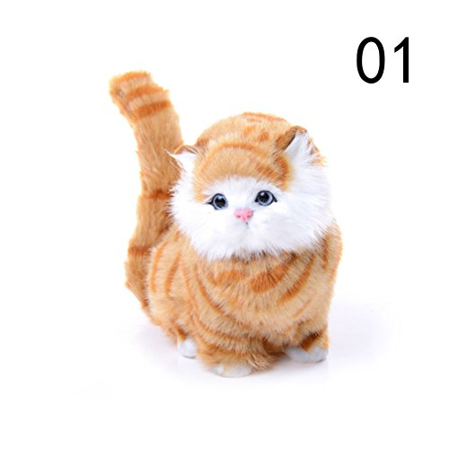DatingDay Soft Cute Simulation Stuffed Plush Persian Cats Toys Dolls that Looks Real, Electric Sounding Cat for Kids Boys and Girls (Yellow)