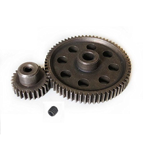 JFtech Differential Steel Metal Super Gear 11184 Main Gear 64T & 11176 Motor Gear 26T Combo for RC HSP 1/10 Car Truck (Metal Differential Gear)