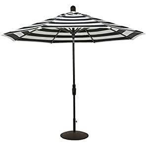 Zuma Shore - 9ft Round 360° Rotation Auto Tilt Market Umbrella (Polyester- Black Stripe)