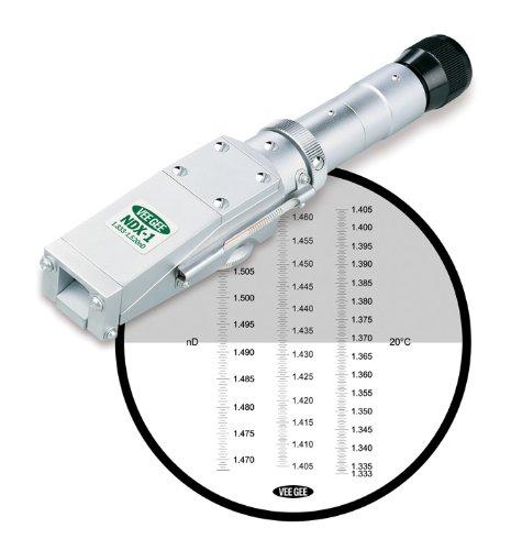Vee Gee Scientific NDX-1 Handheld Refractometer, with Refractive Index Scale, 1.333-1.517, +/-0.001 Accuracy, 0.001 Resolution