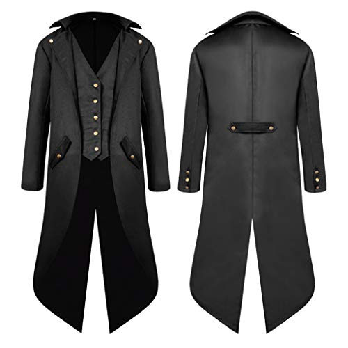 Coat Pour Veste Fashion Noir D'halloween carnaval Manteau Jacket Steampunk Homme Costume Gothique Baoblaze Longue Tailcoat qxzvfn
