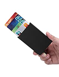 MuLier Credit Card Holder RFID Blocking Aluminum Automatic Pop-up Slim Metal Wallet (Black)