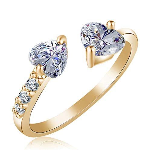 AJZYX Gold Fine Open Rings Double Heart Cubic Zirconia cz Rings for Women Ladies Adjustable Bands ()